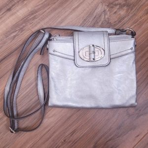 Chaps Silver Pleather Crossbody Bag Extended Purse